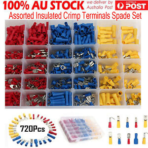 Electrical-Wire-Connector-720pcs-Assorted-Insulated-Crimp-Terminals-Spade-Set-DH