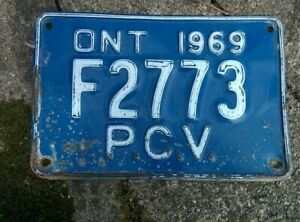 Vintage 1969 Ontario ON Canada Vehicle License Plate Blue White ~ POOR f2773 pcv