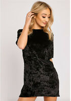 New Womens Ladies Crushed Velvet Casual Tops T Shirt Loose Long Top Blouse Dress