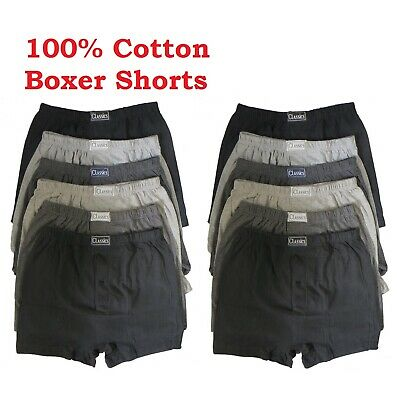 Pack of 6x 12x Mens Boxer Shorts Soft Cotton Button Fly Mens Underwear Trunks