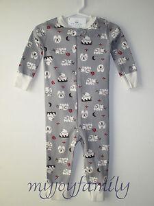 29e39b3fd HANNA ANDERSSON Baby Organic Zip Sleeper Folk Bear Grey 50 0-6 ...