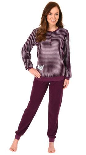 Damen Frottee Pyjama Schlafanzug mit Bündchen Knopfleiste /& Tier Applikation
