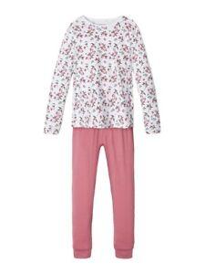 NAME-IT-Pyjama-Schlafanzug-dunkelrosa-Bluemchen-Groesse-86-92-bis-158-164