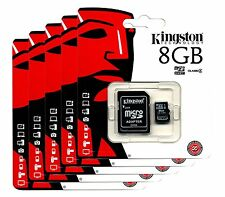 KINGSTON 8GB MICRO SD SDHC TF FLASH MEMORY CARD ADAPTER WHOLESALE  LOT OF 5