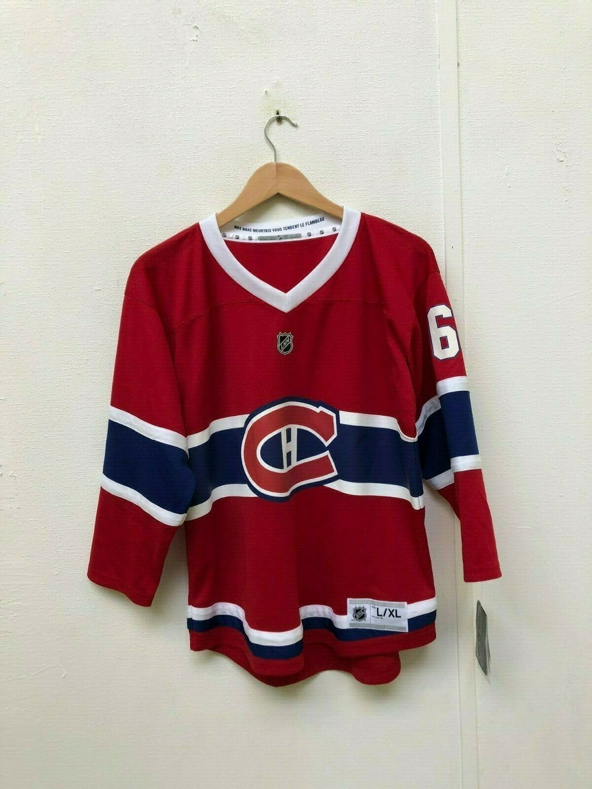 Montreal Canadiens Kid's Home LS Jersey - L XL - NepomNew With Defects
