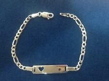 925 STERLING SILVER FIGARO LINK BABY ID BRACELET WITH CUT OUT HEART/ personalize
