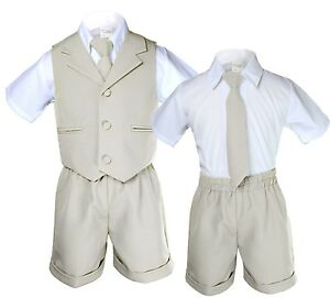 New Infant Boy /& Toddler Formal Vest shorts Suit New born to 4T Stone Khaki