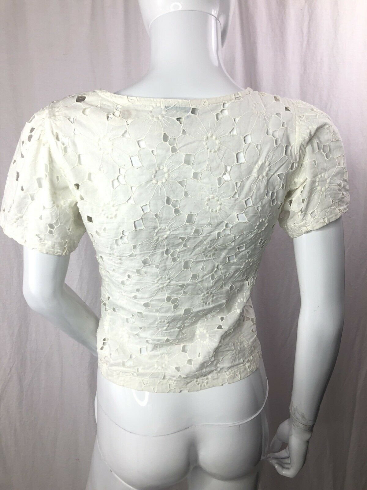 Vintage Kenzo 70s  Sheer Floral Lace Top XS - image 2