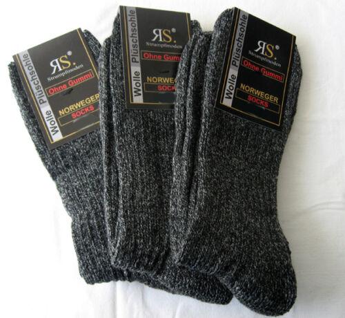 3 paia di calze norvegesi da uomo con lana wandersocken Nero-Melange 39 a 46