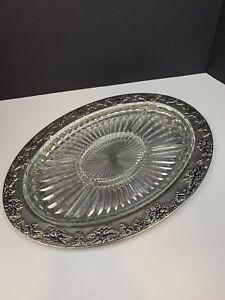 Vtg Godinger Silver Art Co Ltd Grapevine Oval Silver Platter Serving W Glass Ebay