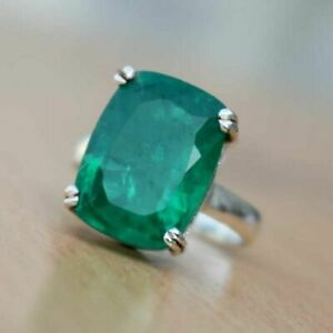 925-Sterling-Silver-Natural-Colombian-Emerald-Cushion-Shape-Prong-Ring-Sale