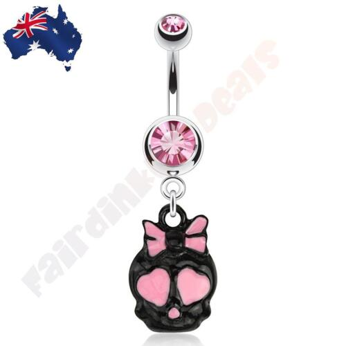 Surgical Steel Pink Gem Belly Ring Cute Black and Pink Skull Dangle Halloween