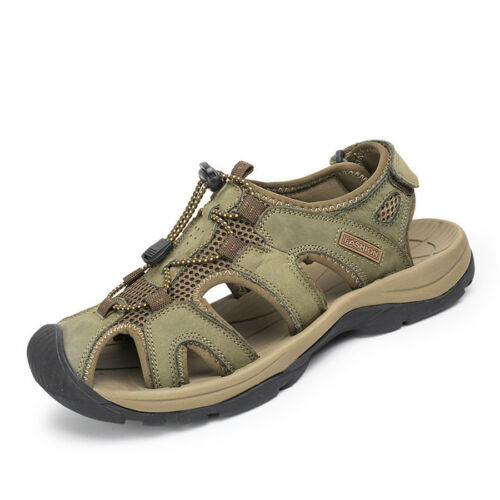 Men Genuine Leather Casual Hiking Shoes Closed Toe Sport Sandals Outdoor US 6-12
