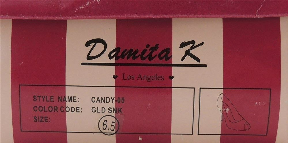 Damita K Women's Peep-Toe Evening Classic Pumps Pumps Pumps In gold Snake Size 7 25216e