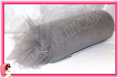 SILVER Soft Wedding Tulle Roll 15cm x 23m Bridal Material Chair Sash Pew Bow