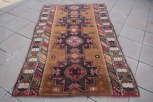 Vintage Anatolian Kazak Rug 4'8 x 7'2 ft. Turkish Star Design Colorful Kazak Rug