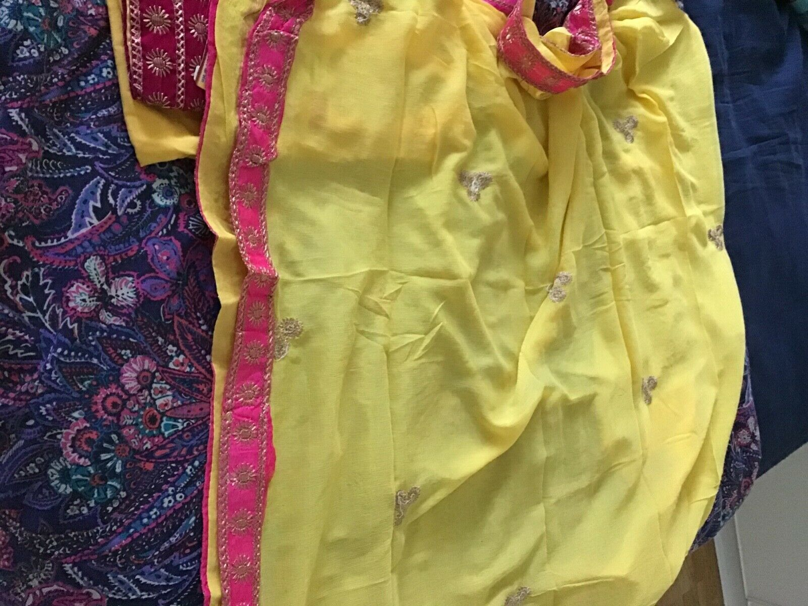 Unstitched salwar kameez fabric of yellow and pink colour