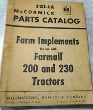 Ih Mccormick Farm Implements Farmall 200 And 230 Tractors Parts Catalog F2i 1a