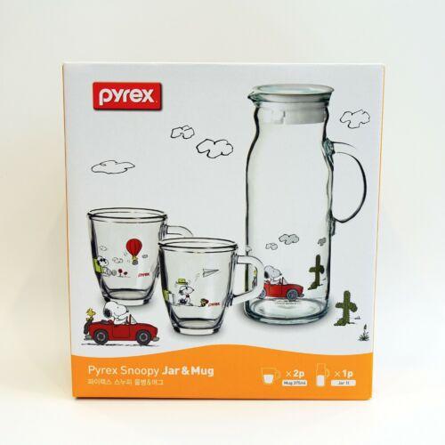 Corelle Pyrex Peanuts Snoopy Pitcher Mug Set Peanuts Drinkware Collection