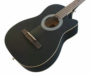 Beginner-Acoustic-Guitar-Pack-Matt-Black-38-inch-steel-strings-Right-Handed