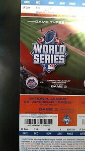 Mets-Royals World Series Game 3-10/30/15 Unused Ticket!!