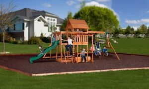 Image Is Loading Backyard Swing Set Monticello Cedar Wooden Outdoor  Playground