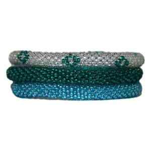 Sparkly-Blue-Green-and-Silver-Crocheted-Beaded-Bracelets-Set-Seed-Beads-Nepal