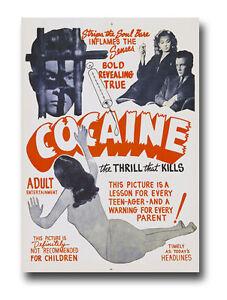 AZ14-Vintage-1950-039-s-Cocaine-Thrill-That-Kills-Anti-Drugs-Movie-Poster-RePrint-A4