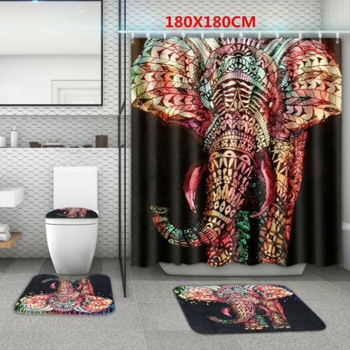 4Pc Set Bathroom Non-Slip Rug Toilet Lid Seat Cover Bath Mat Shower Curtain I