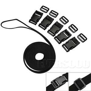 Black-Nylon-Heavy-Webbing-Strap-1-034-Wide-4-3-Yards-Plastic-Release-Buckles
