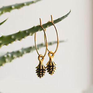 Pinecone Charm Hoop Earrings Gold