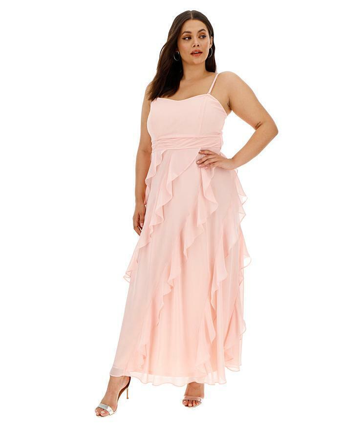 JOANNA HOPE Blush Frill Bridesmaid Dress UK 20 US 16 EUR 48 (CC8-2)