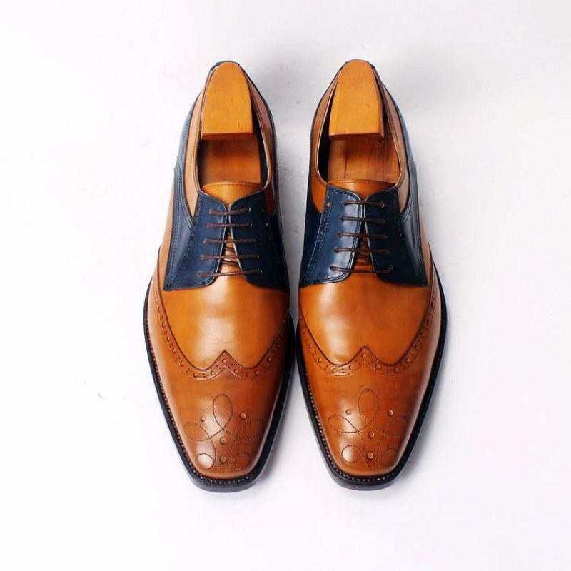 Handmade Mens formal shoes, Men two tone Dress shoes, Men wing tip formal shoes