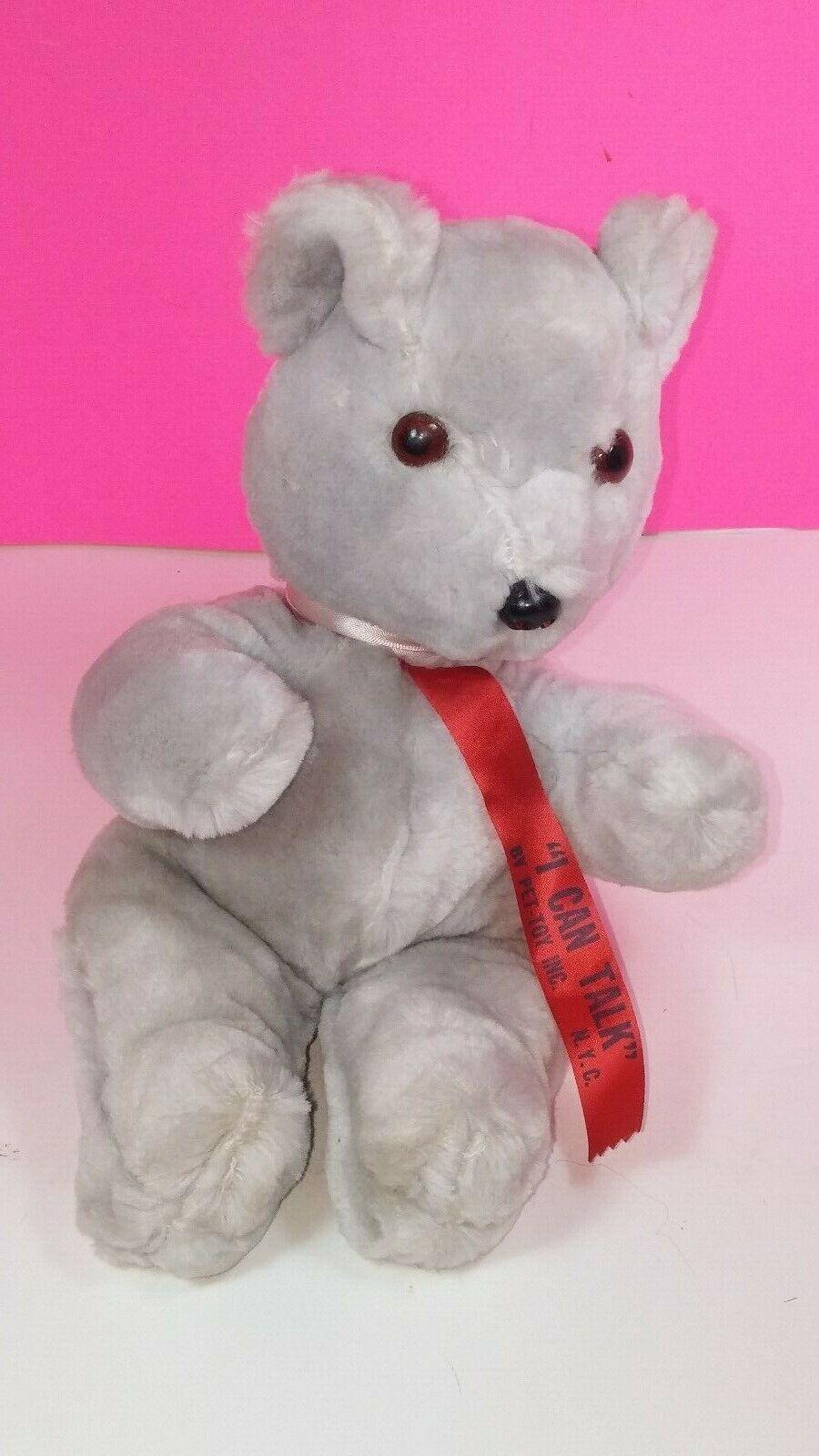 Antique Pet-Toy Wind Up Talking Teddy Bear Vintage Plush NY Works