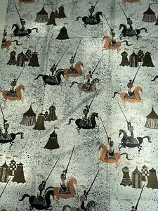 Vintage 50s 60s Knights Horses Tents Fabric Textile Material Mid Century Modern