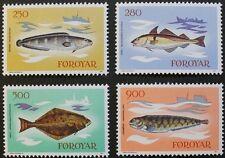 Peces SELLOS, 1983, torsk, Haddock, fletán, Islas Feroe, SG Ref: 85-88, estampillada sin montar o nunca montada