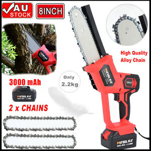 8'' Electric Cordless Chainsaw Chain Saw Garden Cutting Tool With 3Ah Battery