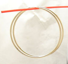 2mm X 60mm 2 3 8 Large Plain Shiny Hoop Earrings Real 14k Yellow