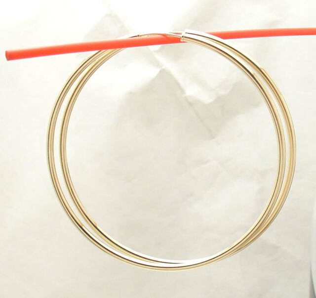 2mm X 60mm 2 3 8 Large Plain Shiny Endless Hoop Earrings Real 14k