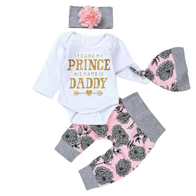4Pcs Newborn Baby Girls Floral Tops Romper Long Pants Hat Outfits Clothes Set
