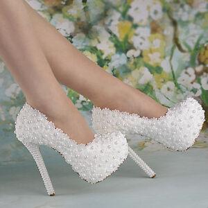 55 heel white pearl lace flowers platform heels wedding shoes image is loading 5 5 034 heel white pearl lace flowers mightylinksfo