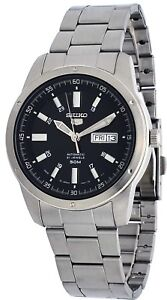Seiko-5-SNKN13J1-Men-039-s-Japan-Stainless-Steel-Black-Dial-Day-Date-Automatic-Watch