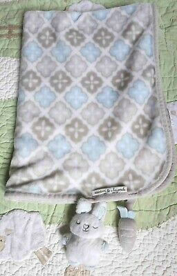 Just One Year Polyester Plush Blue Gingham Puppy Dog Too Cute Baby Boy Blanket