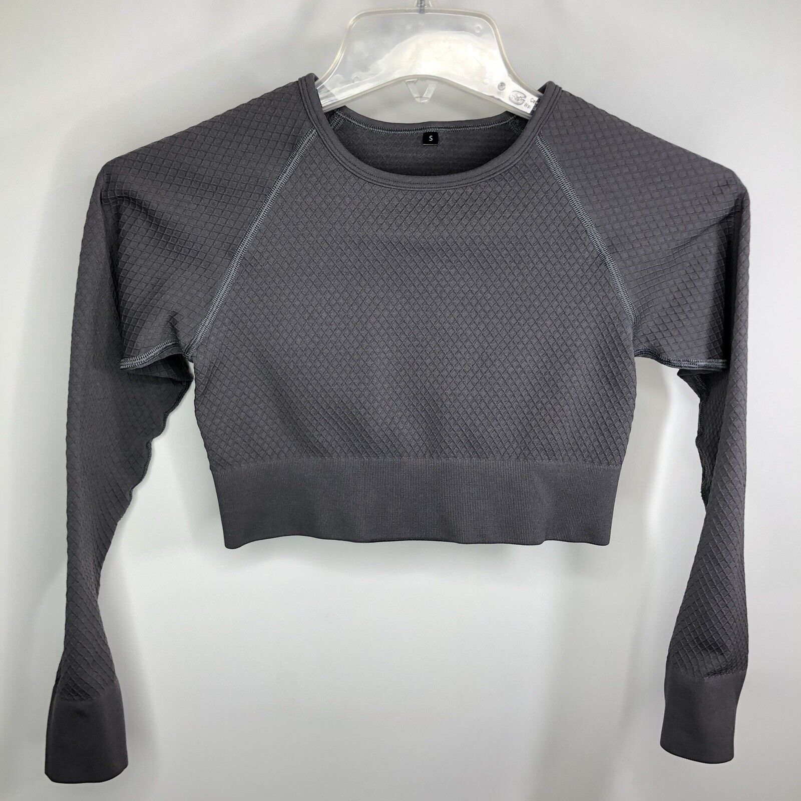 Balance Athletica Energy Crop Top Graphite Long Sleeve Workout Athleisure Sz S