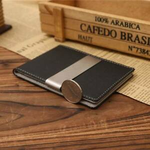ID-Credit-Card-Holder-Mens-Genuine-Leather-Silver-Money-Clip-Bifold-Slim-Wallet
