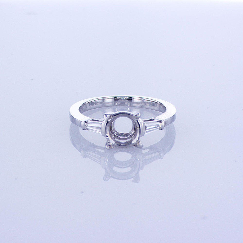 18KT WHITE gold THREE STONE ENGAGEMENT SETTING WITH TAPERED BAGUETTES