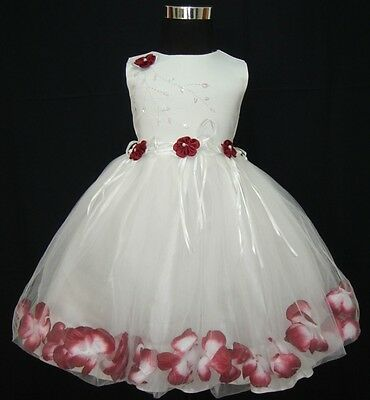 New Ivory and Burgundy Pageant Party Flower Girl Dress 4-5 Years