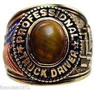 Tiger Eye Usa Trucker Mens Ring 18k Yellow Gold Overlay Size 9