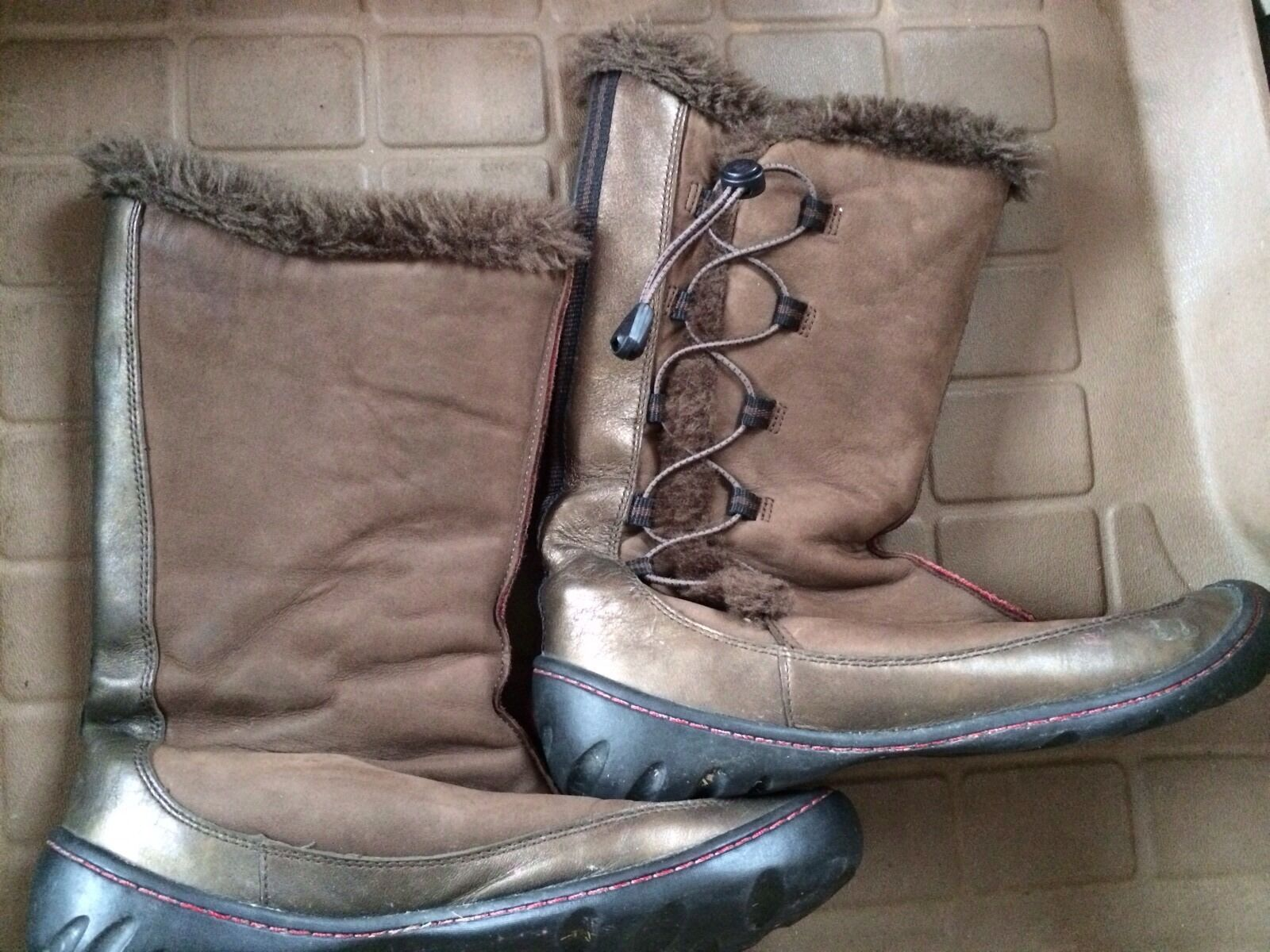 Clarks Privo Kaley Leather Suede Faux Fur Winter Boots Brown Bronze Sz 7M 76236