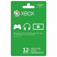 Brand New Xbox LIVE 12 Month Gold Membership Card also good for Xbox One